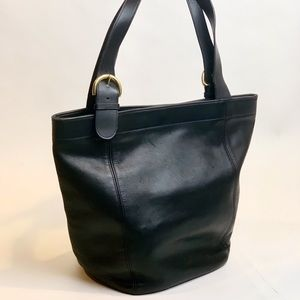 Coach Black Vintage Leather Bucket/Tote Bag